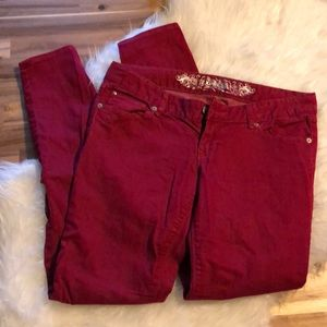 Express skinny red jeans